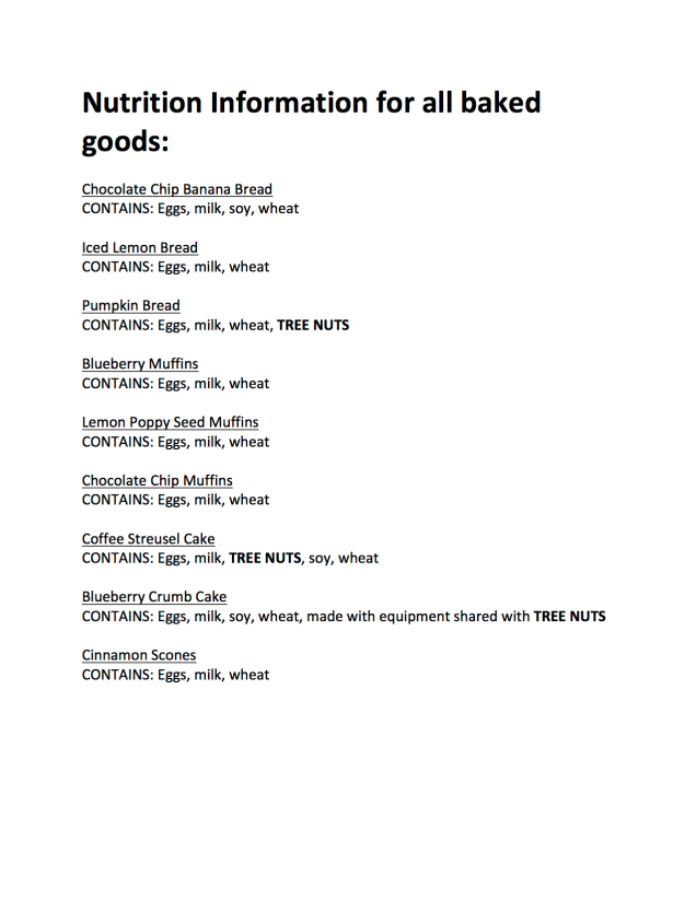 Nutrition Information for Baked Goods